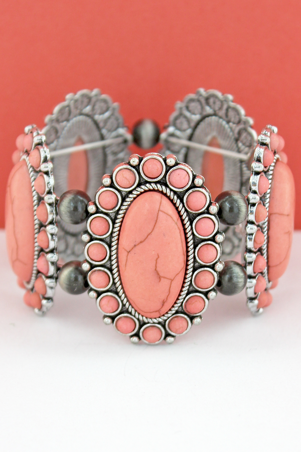 Pink Oval Stone Flower and Navajo Pearl Stretch Bracelet