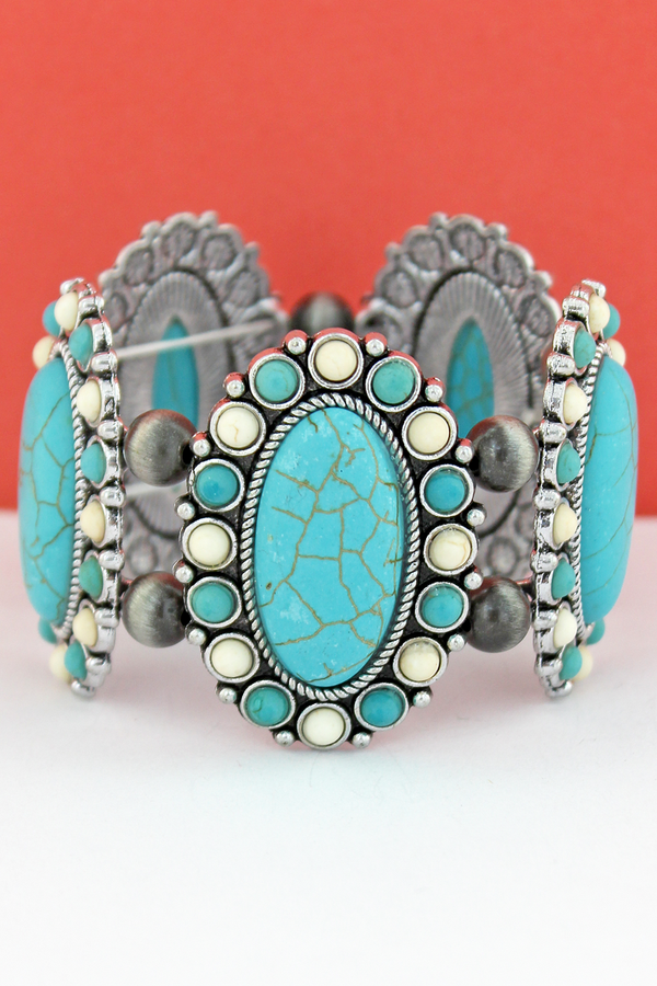 White & Turquoise Oval Stone Flower and Navajo Pearl Stretch Bracelet