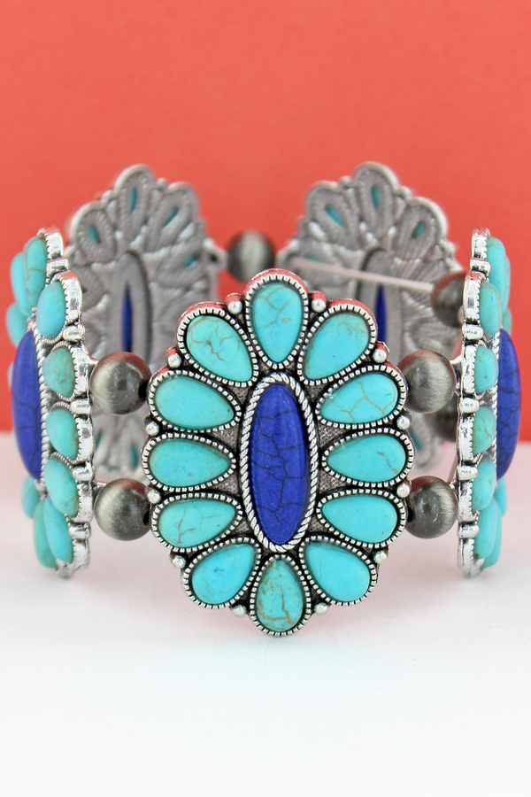 Turquoise & Blue Beaded Oval Flower and Navajo Pearl Stretch Bracelet
