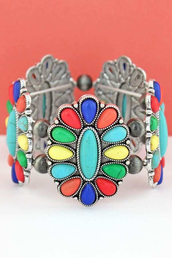 Multi-Color Beaded Oval Flower and Navajo Pearl Stretch Bracelet