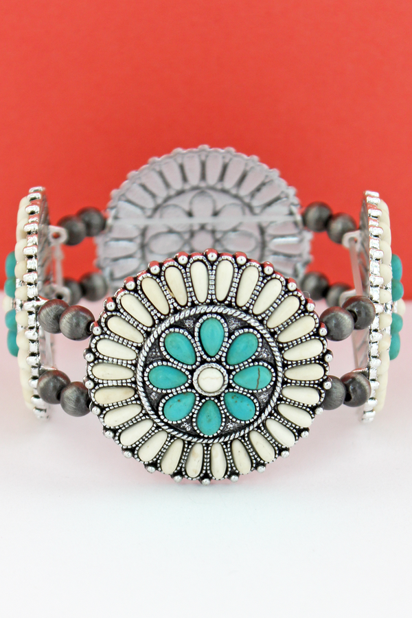 White & Turquoise Stone Beaded Flower Disk and Navajo Pearl Stretch Bracelet