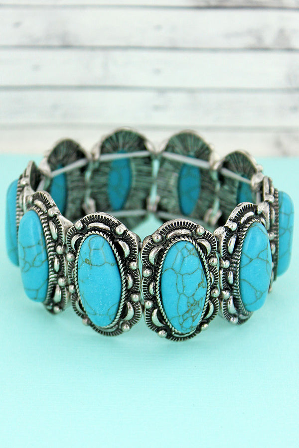 Turquoise Stone and Silvertone Oval Concho Stretch Bracelet