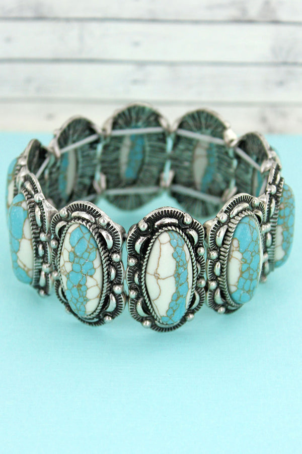 White and Turquoise Stone and Silvertone Oval Concho Stretch Bracelet