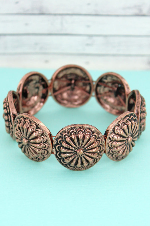 Burnished Coppertone Sunburst Concho Stretch Bracelet
