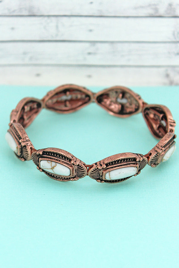 White Beaded Coppertone Western Stretch Bracelet