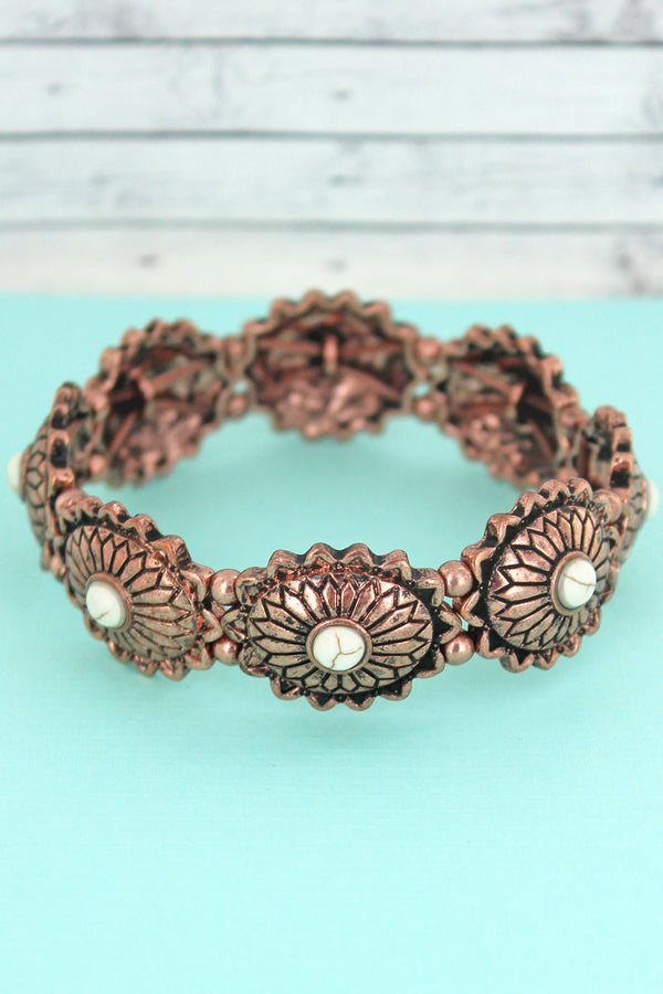 White Beaded Coppertone Flower Concho Stretch Bracelet