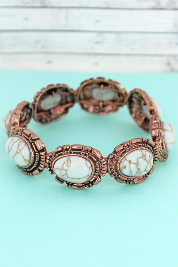 Western White Beaded Coppertone Stretch Bracelet