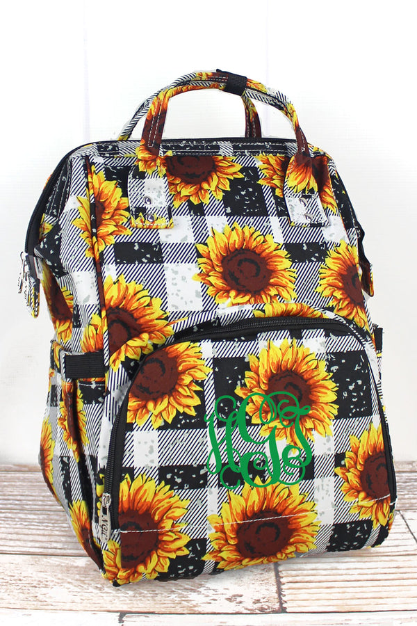 Sunflower Plaid Diaper Bag Backpack
