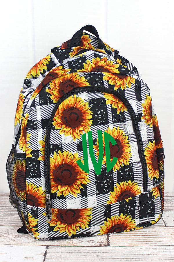 Sunflower Plaid Large Backpack