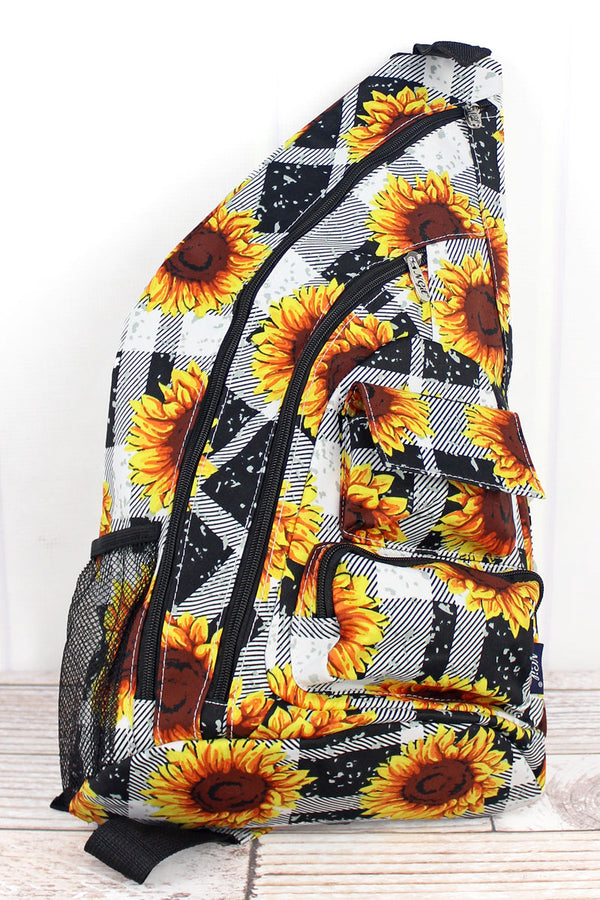 Sunflower Plaid Sling Backpack