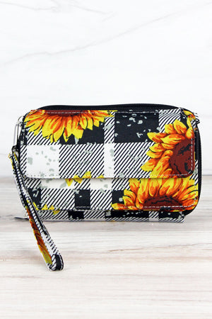 Sunflower Plaid Crossbody Organizer Clutch