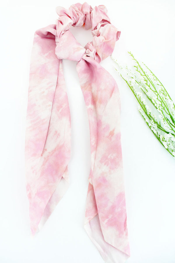 Feeling Groovy Light Pink Scarf Scrunchie
