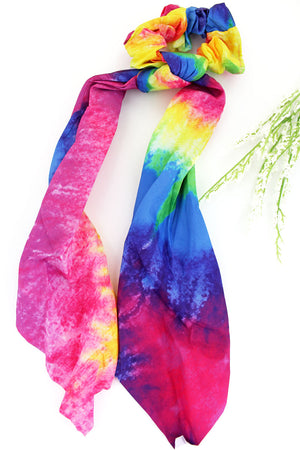 Feeling Groovy Rainbow Scarf Scrunchie