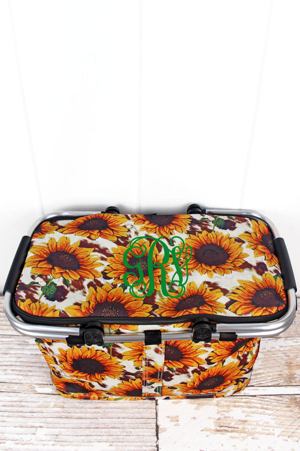 Sunflower Farm Collapsible Insulated Market Basket with Lid