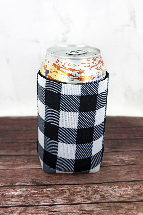 Black and White Buffalo Plaid Drink Sleeve