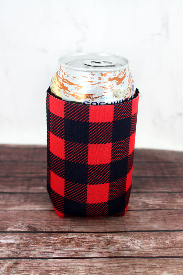 Red and Black Buffalo Plaid Drink Sleeve