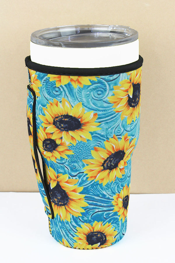 Turquoise Wild West Sunflower Tumbler Drink Sleeve