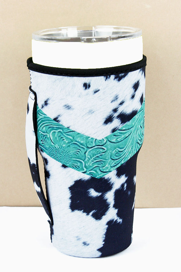 Trendy In Turquoise Cow Tumbler Drink Sleeve