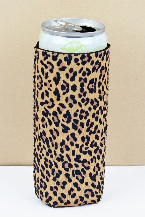 Leopard Slim Can Drink Sleeve