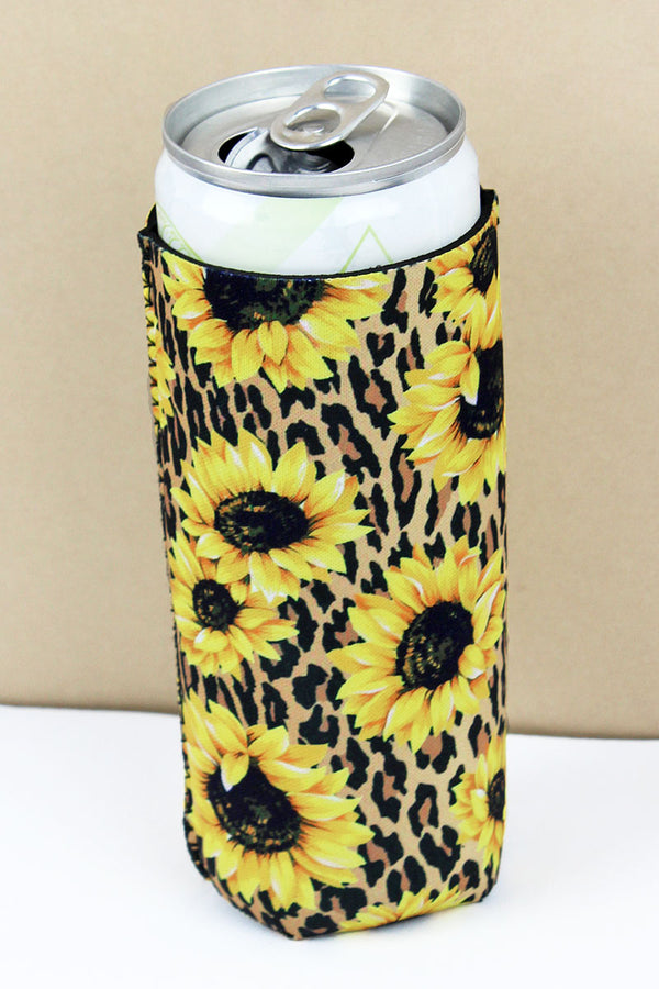 Sunflower Leopard Slim Can Drink Sleeve