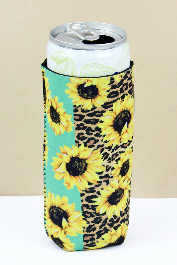 Sunflower Leopard & Mint Colorblock Slim Can Drink Sleeve