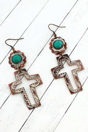 Worn Coppertone and White Patina with Turquoise Bead Cut-Out Cross Earrings #SE0074-WT