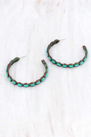 Turquoise Oval Beaded Patina Open Hoop Earrings