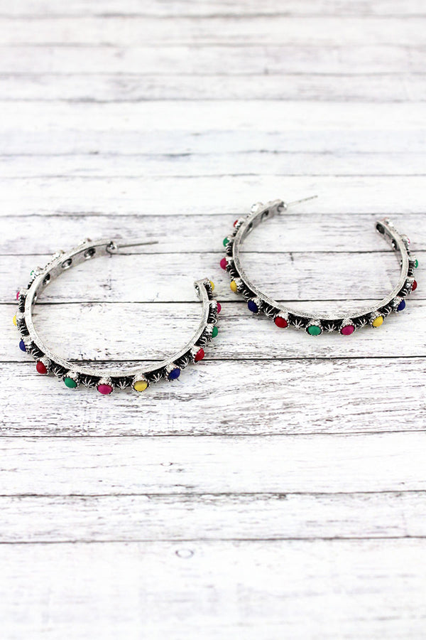 Western Burnished Silvertone and Multi-Color Bead Open Hoop Earrings