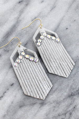 Crystal Accented Light Silver Shredded Faux Leather Earrings