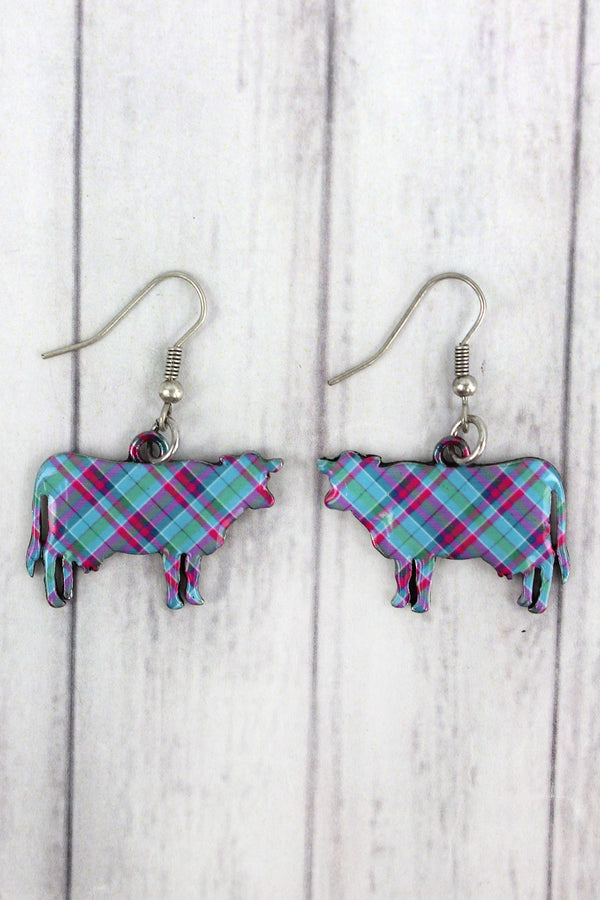 Perfectly Plaid Cow Silvertone Earrings