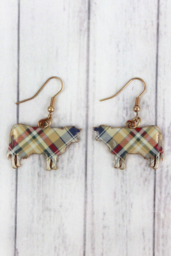 Perfectly Plaid Cow Goldtone Earrings