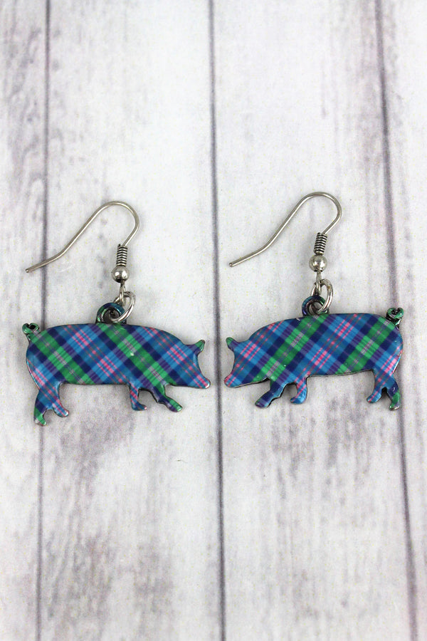 Perfectly Plaid Pig Silvertone Earrings