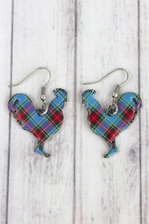 Perfectly Plaid Rooster Silvertone Earrings