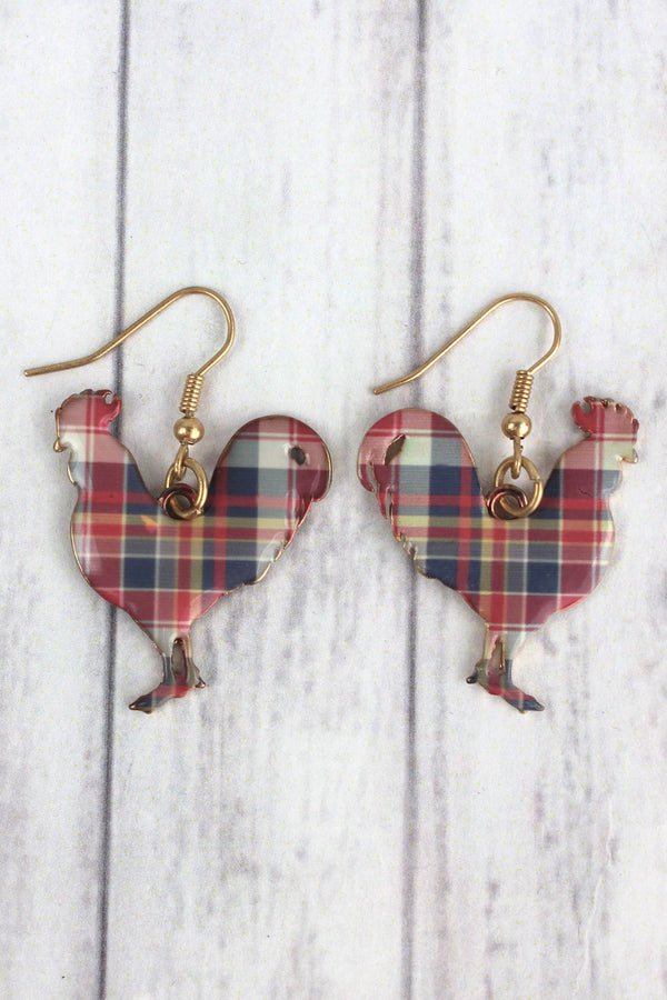 Perfectly Plaid Rooster Goldtone Earrings