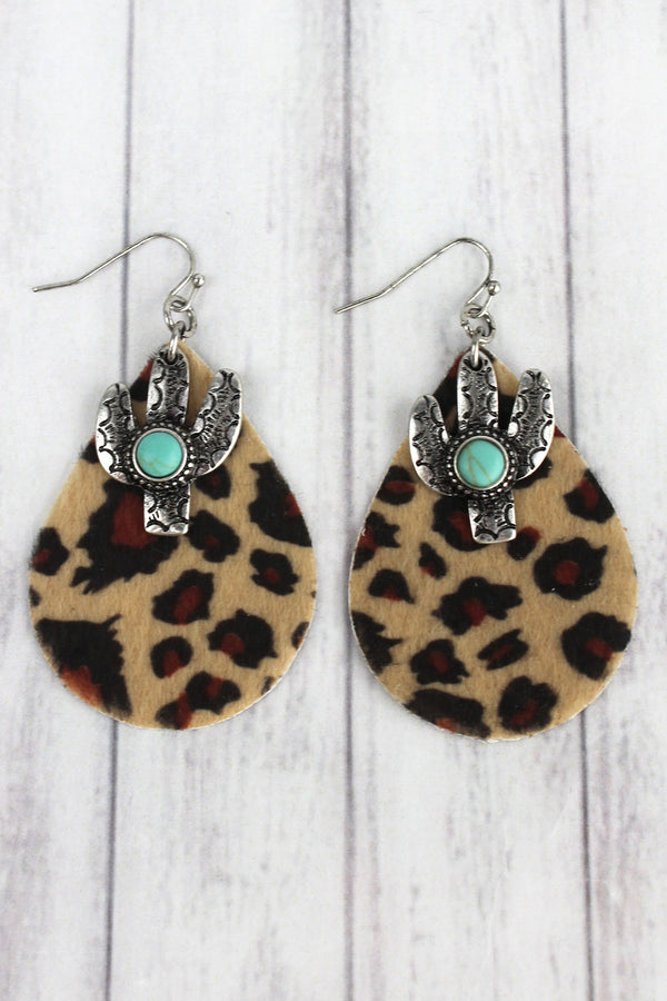 Western Turquoise Cactus and Light Leopard Teardrop Earrings
