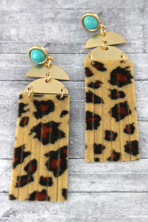 Light Leopard Shredded Faux Leather Geo Earrings