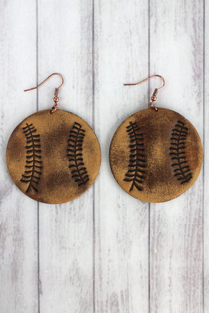 Brown Leather Baseball Earrings