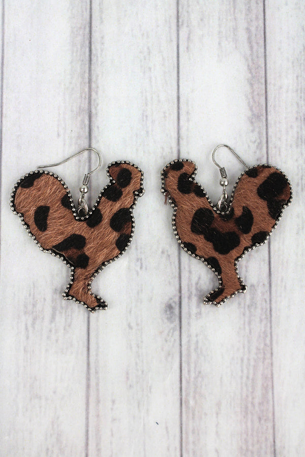 Large Dark Leopard Print Rooster Earrings