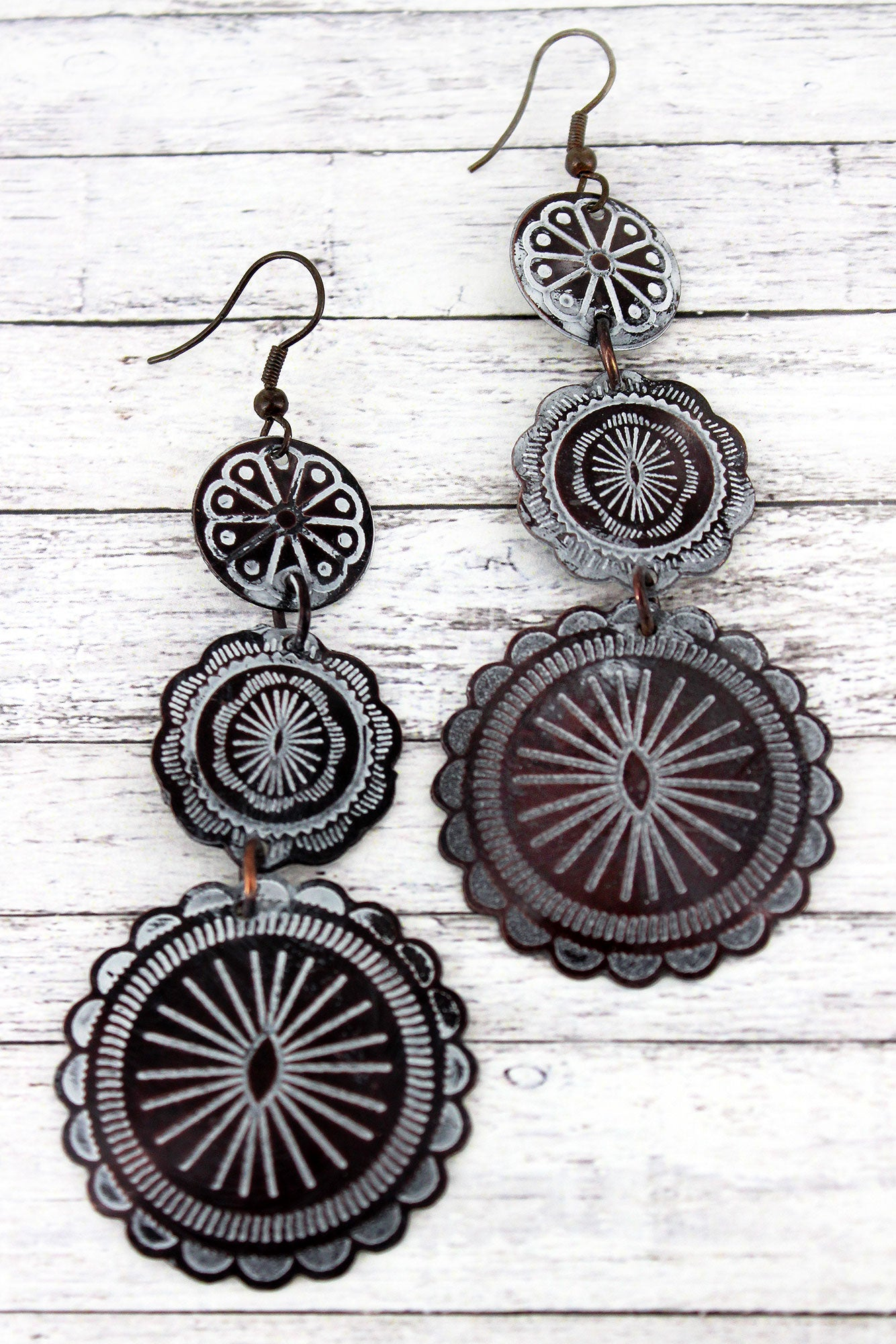 White Patina Coppertone Three Tiered Concho Earrings