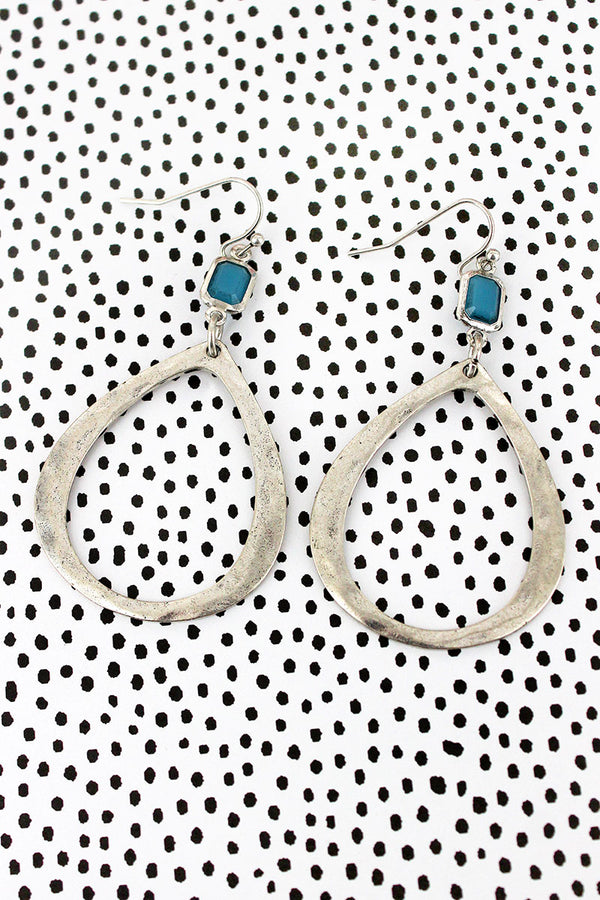 Turquoise Gem and Burnished Silvertone Teardrop Earrings