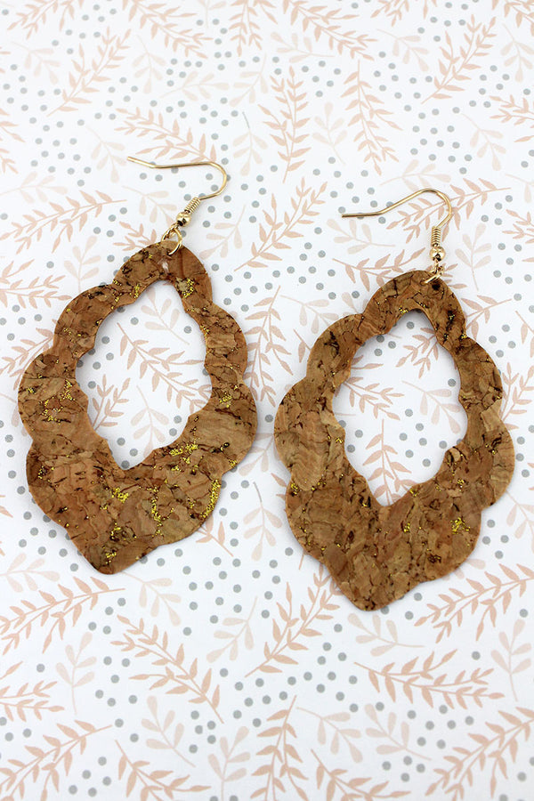 Gold Glimmer Cork Cut-Out Scalloped Marquise Earrings