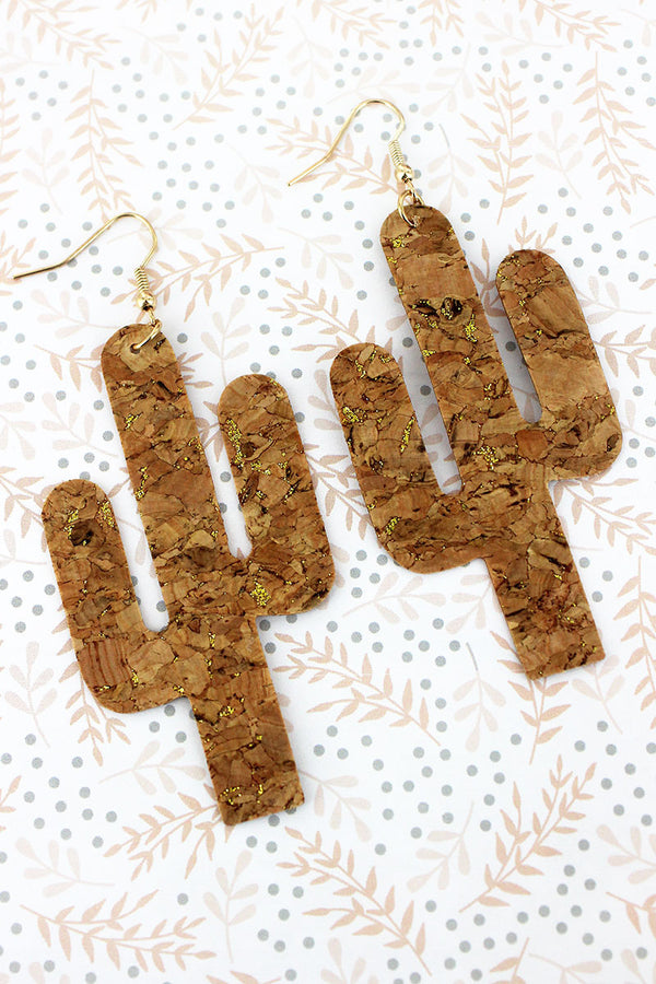 Gold Glimmer Cork Cactus Earrings