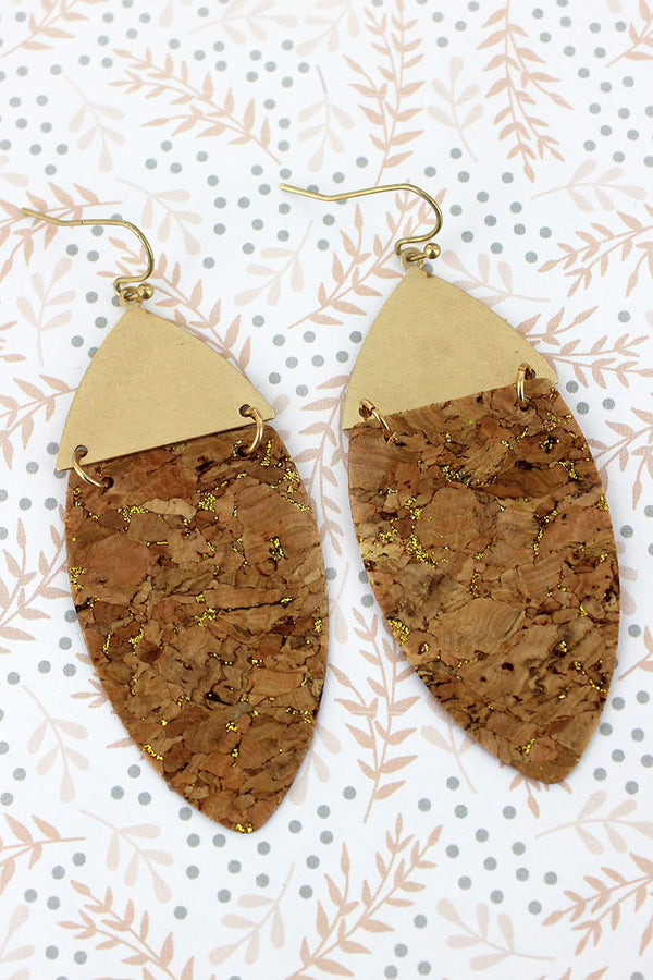 Goldtone and Gold Glimmer Cork Linked Oval Earrings