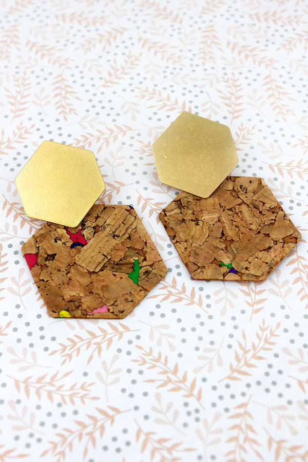 Worn Goldtone and Multi-Color Cork Hexagon Earrings