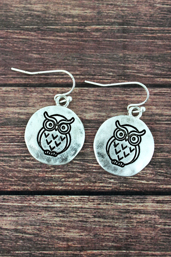 Worn Silvertone Owl Disk Earrings