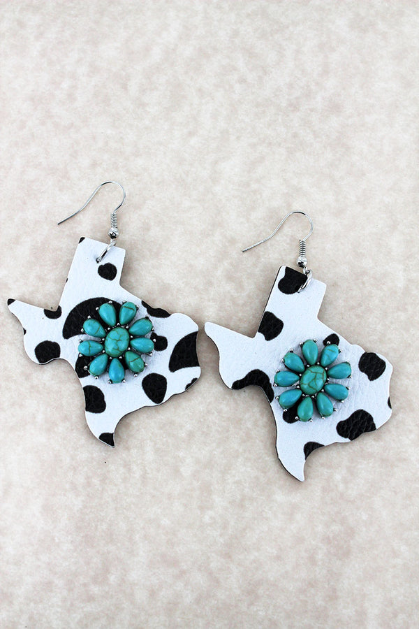 Turquoise Flower and Cow Print Faux Leather Texas Earrings