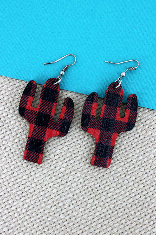 Red and Black Buffalo Plaid Cactus Wood Earrings