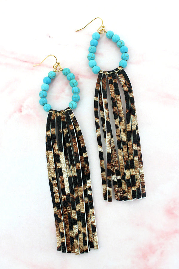 Turquoise Beaded Loop and Leopard Faux Leather Tassel Earrings