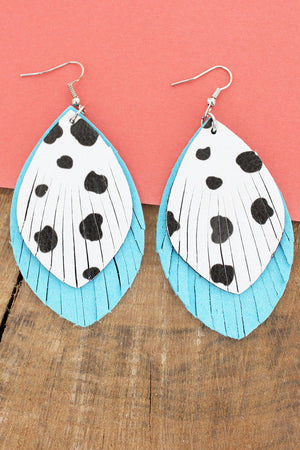 Cow and Turquoise Faux Leather Layered Shredded Petal Earrings