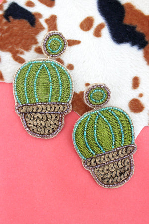 Embellished Embroidered Barrel Cactus Earrings